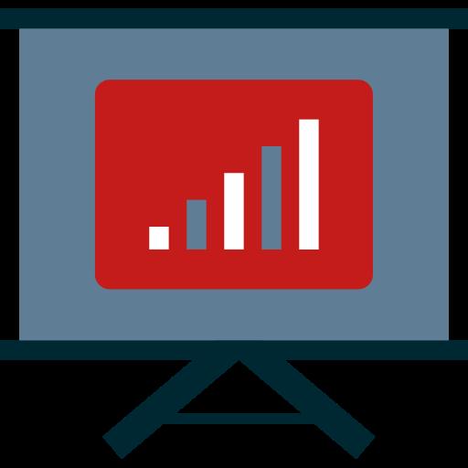 Icona disegnata lavagna per proiettore con grafico. Sta per analisi di mercato.
