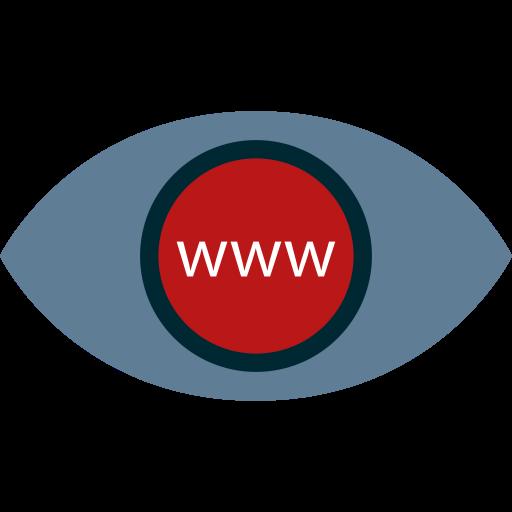 Icona Disegnata di Occhio in Blu con Pupilla Rossa contenente scritta www. Sta per Ascolto del Cliente.