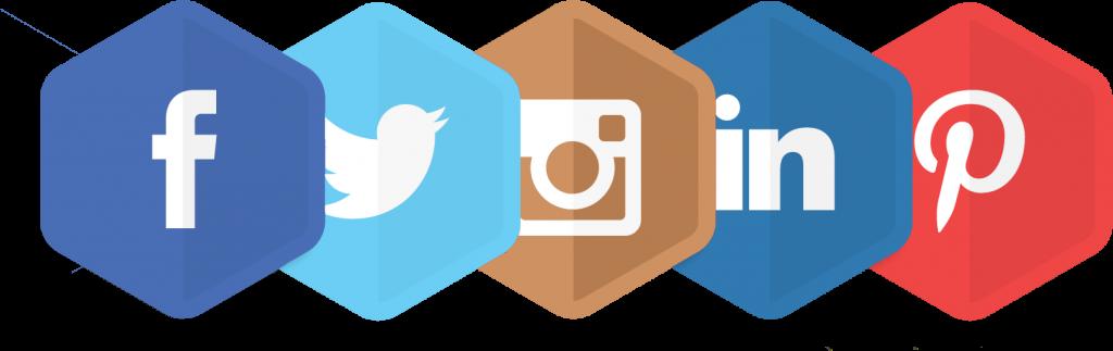 Loghi Social Media Esagonali, Facebook Twitter Instagram Linkedin Pinterest