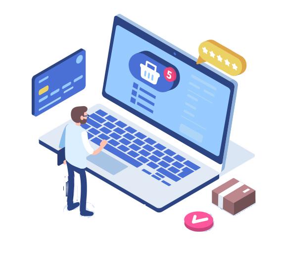 Realizzazione Siti E-Commerce di Successo Uomo Davanti PC