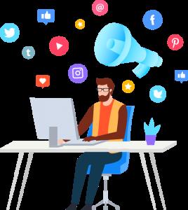 Social Media Marketing, Marketer Seduto a Scrivania con Icone Social in Aria